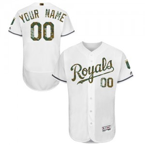 Men's Majestic Custom Kansas City Royals Player Authentic White ized 2016 Memorial Day Fashion Flex Base Jersey