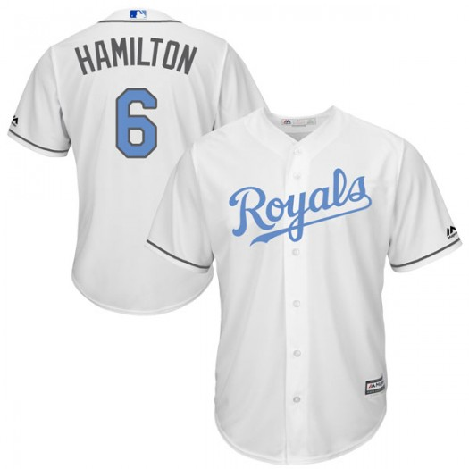 Men's Majestic Billy Hamilton Kansas City Royals Authentic White Cool Base Father's Day Jersey
