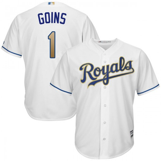 Youth Majestic Ryan Goins Kansas City Royals Player Authentic White Cool Base 2017 Home Jersey
