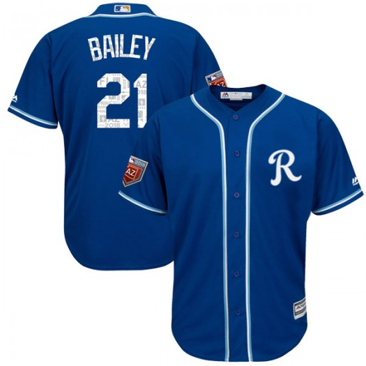 Youth Majestic Homer Bailey Kansas City Royals Replica Royal Cool Base 2018 Spring Training Jersey