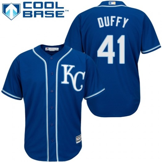 Youth Majestic Danny Duffy Kansas City Royals Player Authentic Blue Alternate 2 Cool Base Jersey