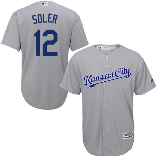 Men's Majestic Jorge Soler Kansas City Royals Player Replica Grey Road Cool Base Jersey